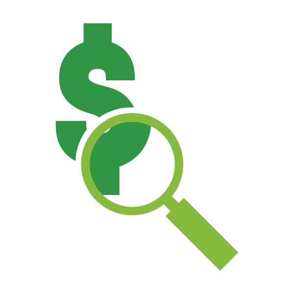 Cartoon illustration of a magnifying glass inspecting a dollar sign
