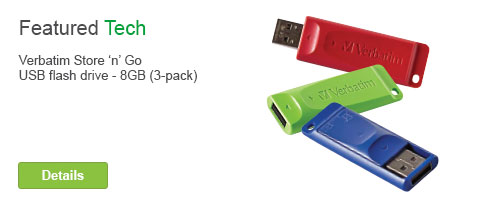 Featured Tech. Verbatim Store 'n' Go USB flash drive - 8GB - 3Pack. Details